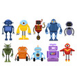 set cartoon robots collection cute retro vector image vector image