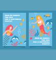 set mermaid sea theme party invitation design vector image vector image
