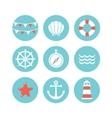 set of 9 flat sea elements vector image vector image