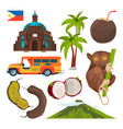 set of colored symbols of philippines vector image vector image