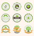 set of green label organic food vector image vector image