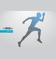 silhouette of a running man from triangle vector image vector image