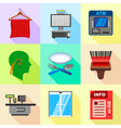 supermarket equipment icons set flat style vector image