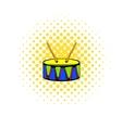 Toy drum icon comics style vector image