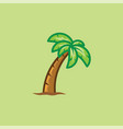 tropical palm tree isolated on green background vector image vector image