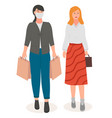 two smiling young women go with shopping paper vector image