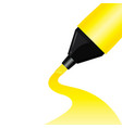 yellow pen highligh for white paper background vector image