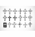 big set of doodle sketch crosses on white vector image