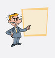 angry white businessman with glasses is showing vector image vector image