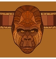 ape gorilla head with ethnic ornament vector image