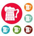 big beer mug icons circle set vector image vector image