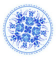 blue round floral ornament in russian gzhel style vector image vector image