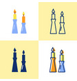 burning candles in candlestick icon set in flat vector image vector image