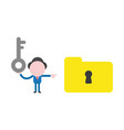 businessman character holding key and pointing vector image vector image