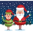 card greeting christmas santa claus with elf blue vector image