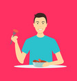 cartoon character person eating meat sausages vector image