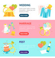 cartoon wedding banner horizontal set vector image vector image