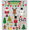 Christmas characters and design elements se vector image vector image