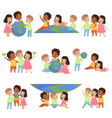 collection of happy multicultural little kids vector image vector image