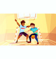 college boys play basketball vector image vector image