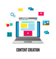 content creation concept laptop with website on vector image vector image