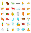 cooking food icons set cartoon style vector image vector image