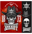 Cowboy Skull in the Hat and Sheriffs star vector image vector image