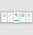 cricket game onboarding elements icons set vector image