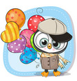 cute cartoon penguin with balloon vector image vector image