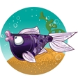 Dark violet Fish on the bacground vector image vector image