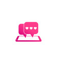dating app love chat icon with smart phone vector image vector image