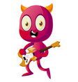 devil playing guitar on white background vector image vector image