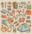 doodle set summer tourism and camping elements vector image