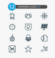 eco icons set with protect nature starfish solar vector image vector image