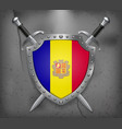 flag of andorra the shield with national flag vector image vector image