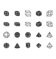 geometric shapes flat glyph line icons set vector image vector image