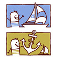 hand drawn cartoon characters - sailor with yacht vector image