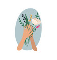 hands holding bouquets or bunches blooming vector image