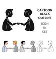 handshaking of businessmen icon in cartoon style vector image vector image