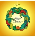 Happy Birthday card with wreath of colored foliage vector image vector image