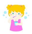 happy girl brushing teeth cartoon vector image