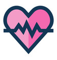 heartbeat medical icon filled line blue pink color vector image vector image