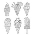 ice cream coloring book vector image vector image
