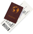 international passport with boarding pass ticket vector image vector image