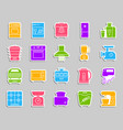 kitchen appliance patch sticker icons set vector image