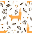 lovely seamless pattern with cute foxes and autumn vector image vector image