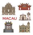 macau landmark buildings temples architecture vector image
