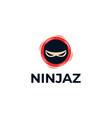 ninja head logo design vector image vector image