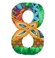 number eight zentangle decorative object number vector image vector image