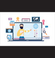 online education banner - laptop with video course vector image